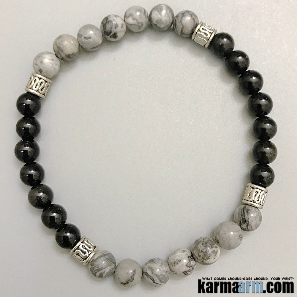 Yoga Bracelets. Mens Beaded Jewelry. Black Obsidian Silver Crazy Lace Agate.