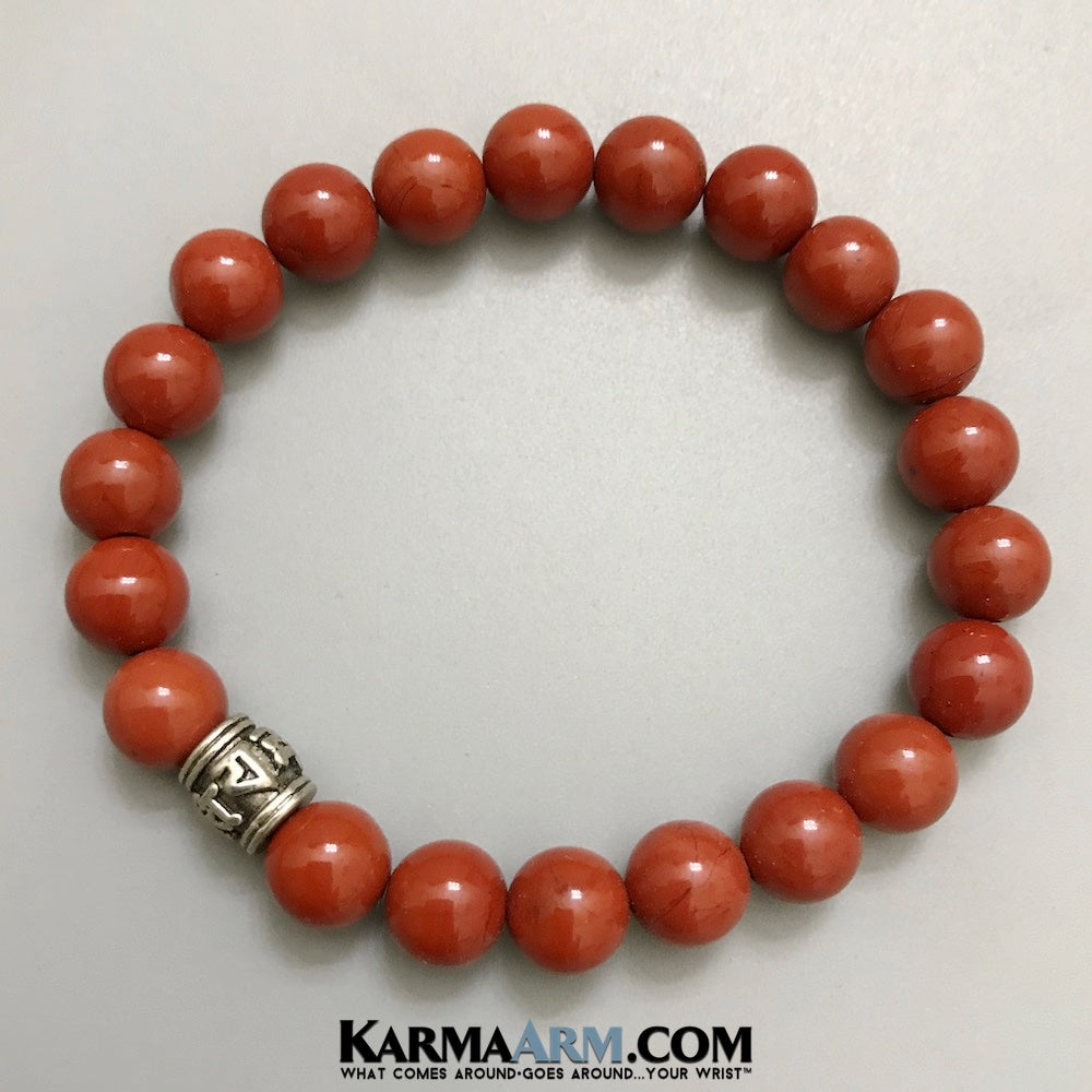 Yoga Bracelets. Mens Beaded Meditation Jewelry. Om Mani Padme Hum Red Jasper Bracelets. Gifts Crystal Energy Stretch Chakra Mala. Mens Jewelry.