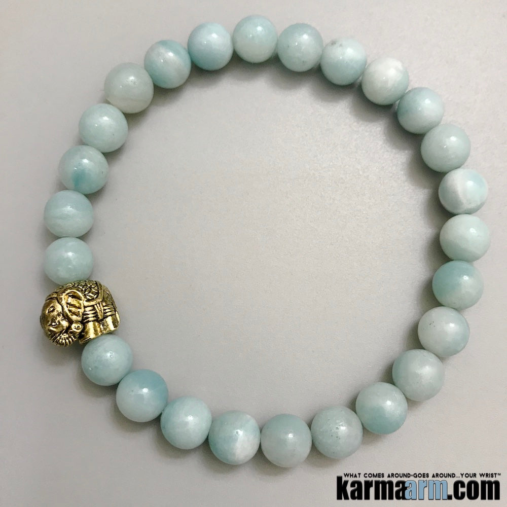Yoga Bracelets. Mens Bracelets. Lucky Elephant Amazonite Hope Success Meditation Chakra Jewelry. Reiki Bracelet.