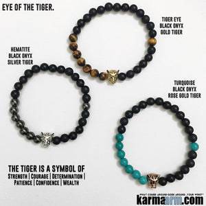 Yoga Bracelets. Mens Bracelets. Meditation Jewelry. Beaded Chakra Bracelet.  Tiger Black Onyx. Gifts Love Stretch Chakra Mala.