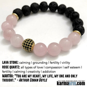 Yoga Bracelets. Mens Bracelets. Reiki Rose Quartz Meditation Chakra Jewelry. Fertility Love Bracelet.  Valentines Day Gifts.