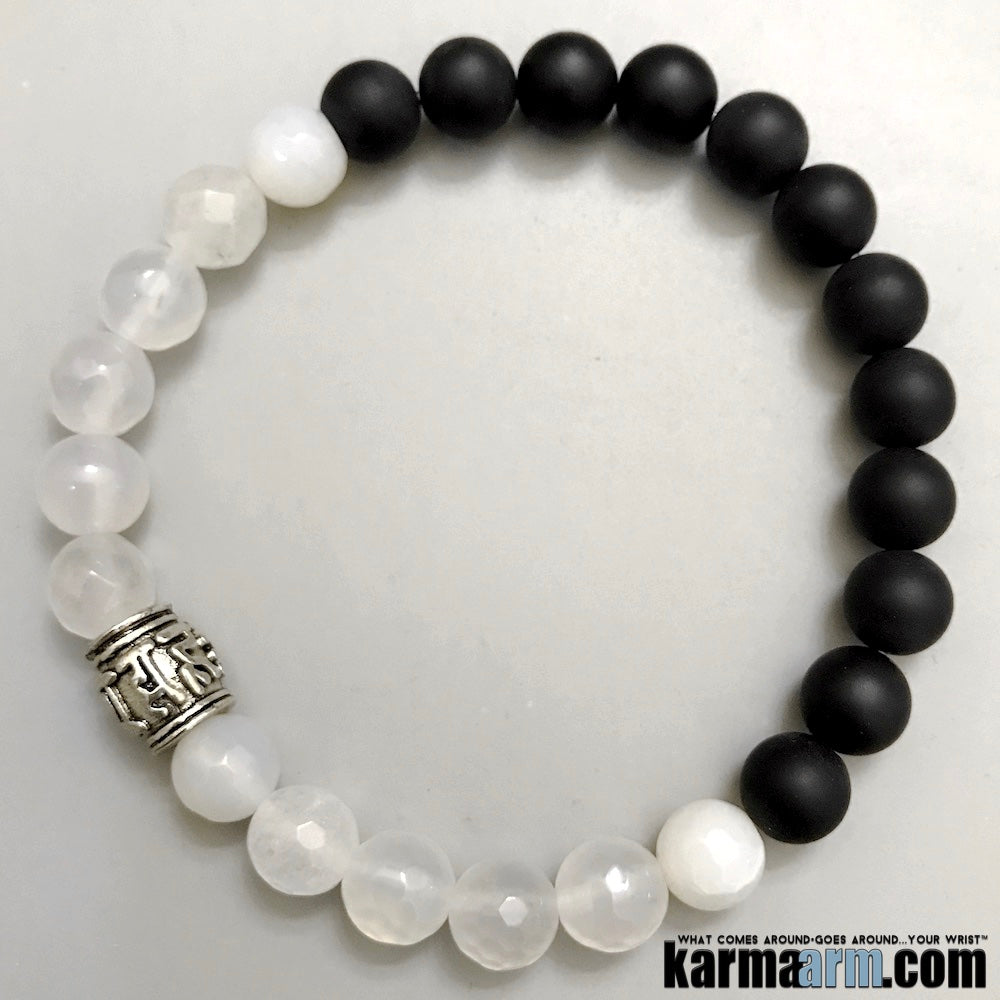 Yoga Bracelets. Mens Jewelry. Beaded Buddhist Om Mani Padme Hum. Jade Onyx. Gifts Love Stretch Mala.
