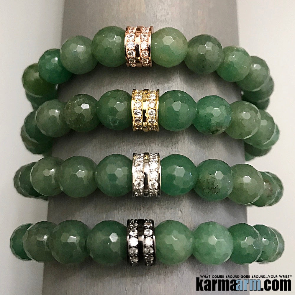 Yoga Bracelets. Mens Jewelry. Beaded Chakra Bracelet. Green Quartz Pave. Gifts Love Stretch Mala.