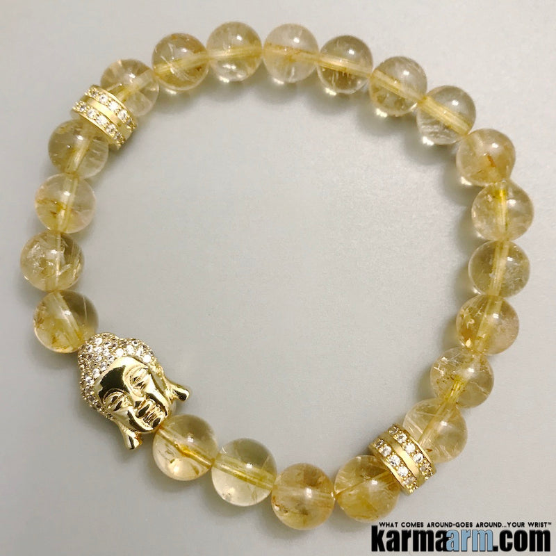Yoga Bracelets. Mens Jewelry. Citrine Buddha. Gifts Love Stretch Mala. Mens Beaded Chakra Jewelry.