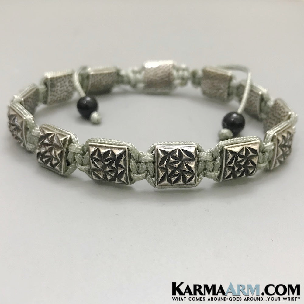 Yoga Bracelets. Mens Jewelry. Flat Bead Collection. Shamballa Mala. Silver .