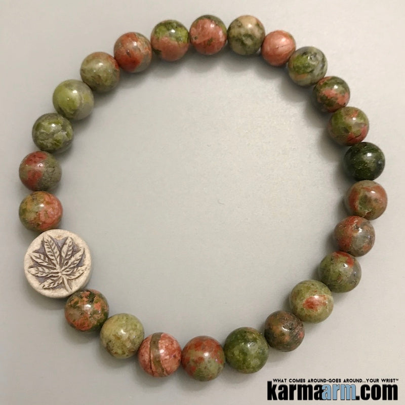 Yoga Bracelets. Mens Jewelry. Love. Pot Hemp Leaf. Gifts Stretch Mala. Mens Beaded Chakra Jewelry.
