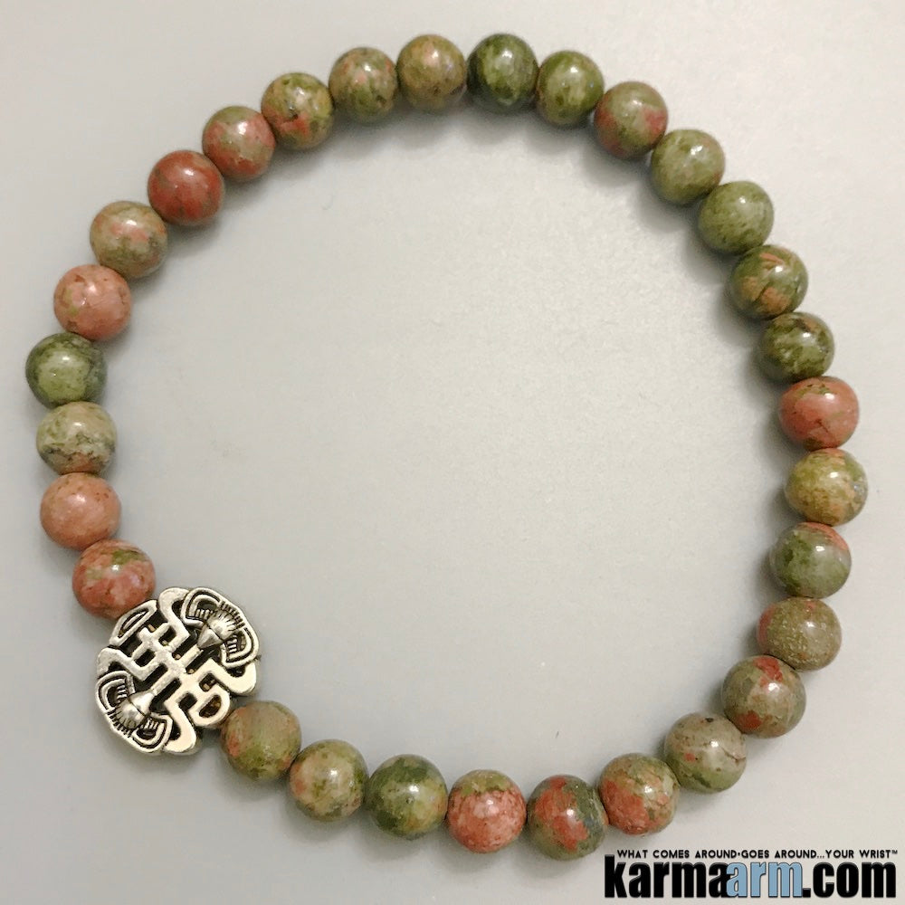 Yoga Bracelets. Mens Jewelry. Unakite Fu Shou. Gifts Love Stretch Mala. Mens Beaded Chakra Jewelry.