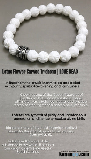 Yoga Bracelets. Mens Jewelry. Valentines Day. Lotus Tridacna Love. Gifts Stretch Mala. Beaded Chakra Jewelry.