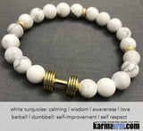 Yoga Bracelets. Mens Women. Manifestation Beaded Prayer Mantra Spiritual Mala. Law of Attraction. #LOA White Turquoise Gold Barbell Dumbell .