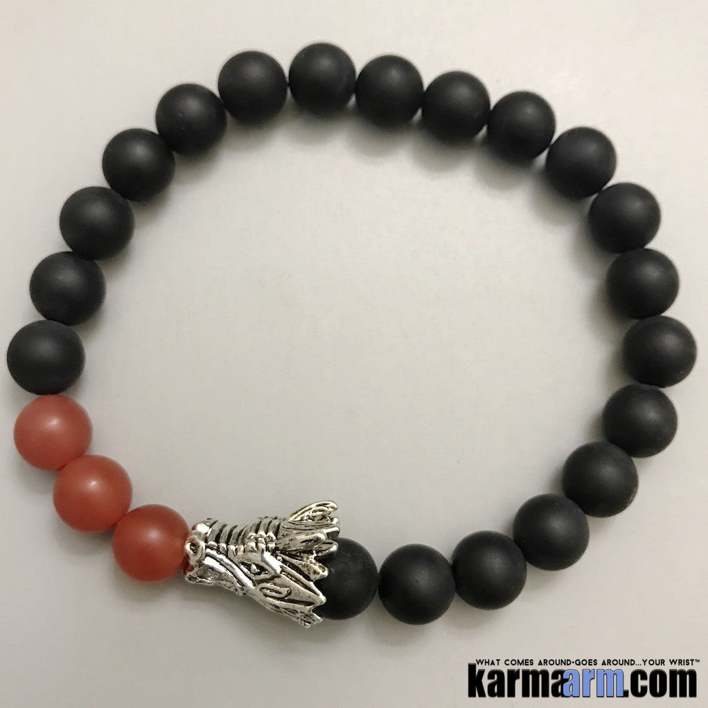 Yoga Bracelets. Mens Women's Beaded Handmade Luxury.  Law of Attraction. Energy Healing. Beaded Mala. Tibetan Buddhist. #LOA. Agate Onyx Dragon.