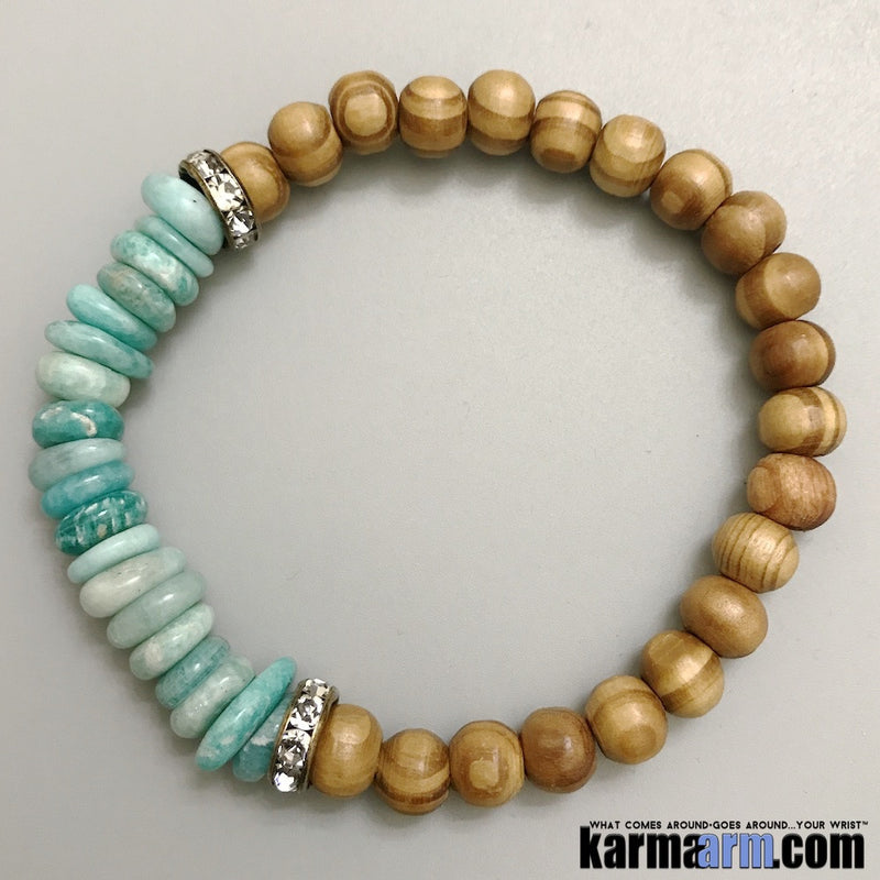 Yoga Bracelets. Mens Women's Beaded Handmade Luxury.  Law of Attraction. Energy Healing. Beaded Mala. Tibetan Buddhist. #LOA. OM Mantra.  Amazonite Bamboo.