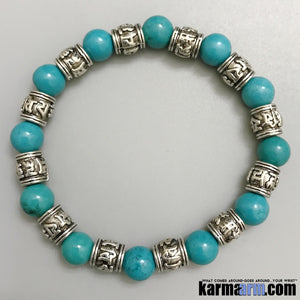 Yoga Bracelets. Mens Women's Beaded Handmade Luxury.  Law of Attraction. Energy Healing. Beaded Mala. Tibetan Buddhist. #LOA. OM Mantra. Blue Turquoise Om Mani Padme Hum.