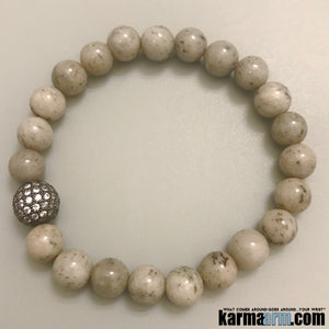 Yoga Bracelet. Diamond Pave Balls. Stretch Beaded Chakra Jewelry. Energy Healing Meditation Mala.