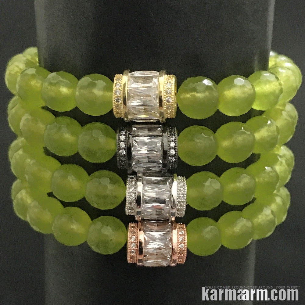Yoga Bracelets. Mens Women's Beaded Shambala Handmade Luxury.  Law of Attraction. Energy Healing. Beaded Mala. Tibetan Buddhist. #LOA. OM Mantra. Peridot Pave Barrel.