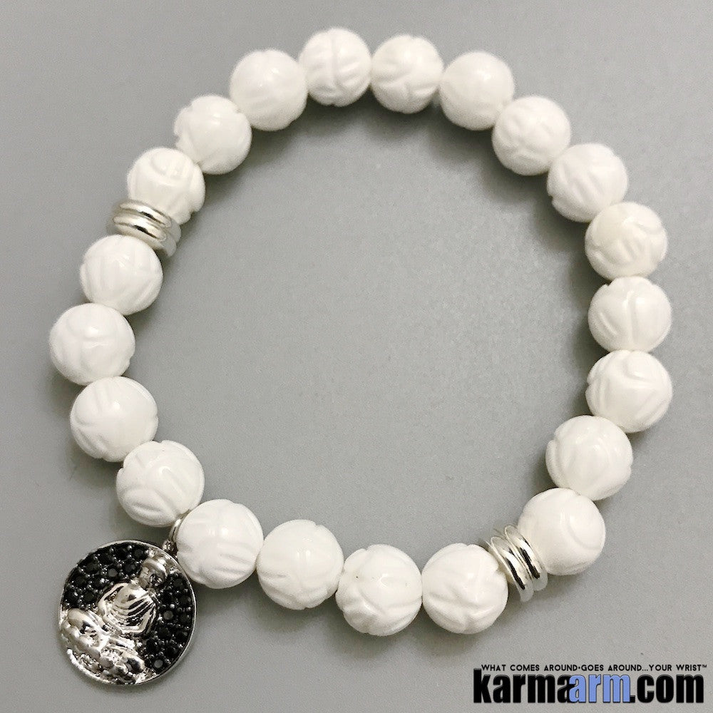 Yoga Bracelets. Mens Women's Beaded Shambala Handmade Luxury.  Law of Attraction. Energy Healing. Beaded Mala. Tibetan Buddhist. #LOA. OM Mantra.  White Lotus Tridacna Buddha Charm.
