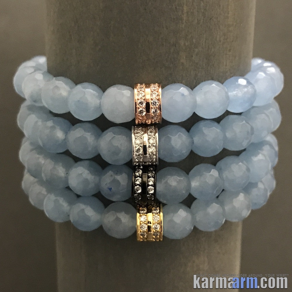 Yoga Bracelets. Mens Women's Beaded Stretch Shambala Handmade Luxury.  Law of Attraction. Energy Healing. Beaded Mala. Tibetan Buddhist. #LOA. OM Mantra. Blue Jade Pave Rondelle.