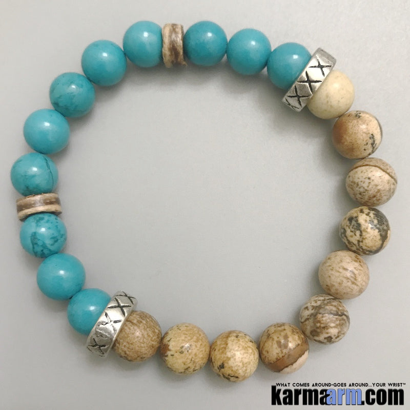 Yoga Bracelets. Mens Women's Beaded Stretch Shambala Handmade Luxury.  Law of Attraction. Energy Healing. Beaded Mala. Tibetan Buddhist. #LOA. OM Mantra. Blue Turquoise Picture Jasper.