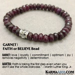 Yoga Bracelets. FAITH Garnet Bracelet. Meditation Jewelry.