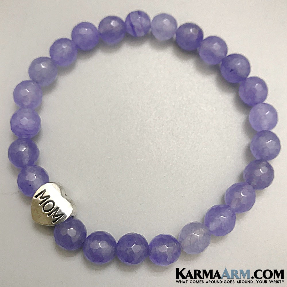 Yoga Bracelets. Mothers Day Jewelry Bracelets. Purple Jade MOM Bracelets. Meditation Chakra Jewelry. Reiki Healing Bracelet.