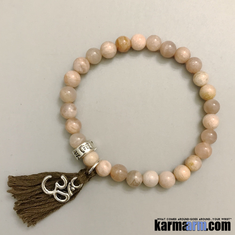 Yoga Bracelets. Om Mantra Tassel. Mens Women's Beaded Handmade Luxury.  Law of Attraction. Energy Healing. Beaded Mala. Tibetan Buddhist. #LOA. Sunstone.