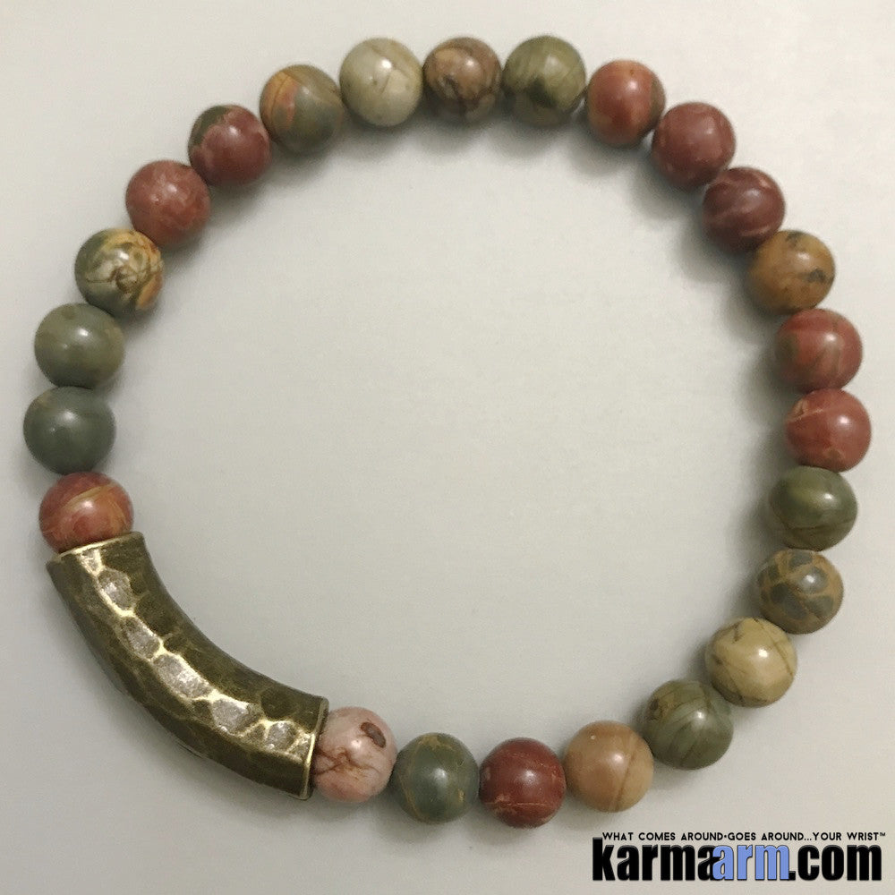 Yoga Bracelets Picasso Jasper. Energy Healing | Men's Womens | beaded yoga karma mala charm. Law of Attraction. manifest. #LOA.