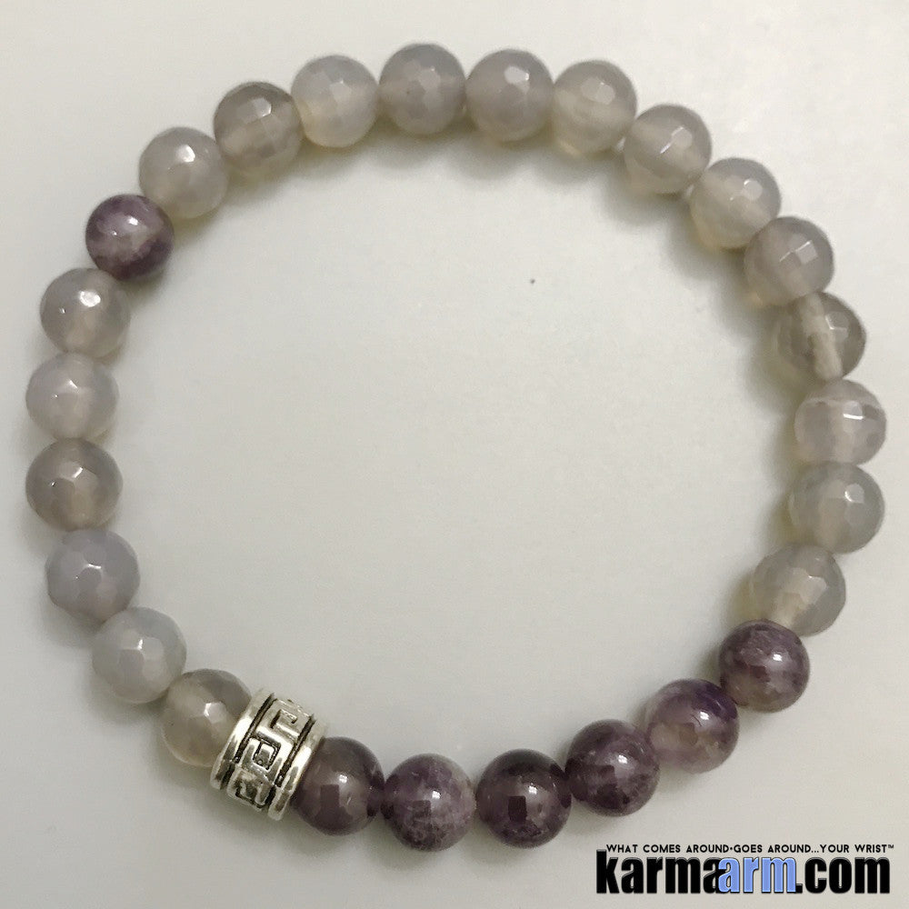 Yoga Bracelets. Purple Amethyst Grey Agate.Men's & Women's Law of Attraction. Energy Healing. Beaded Mala. Tibetan Buddhist. #LOA.