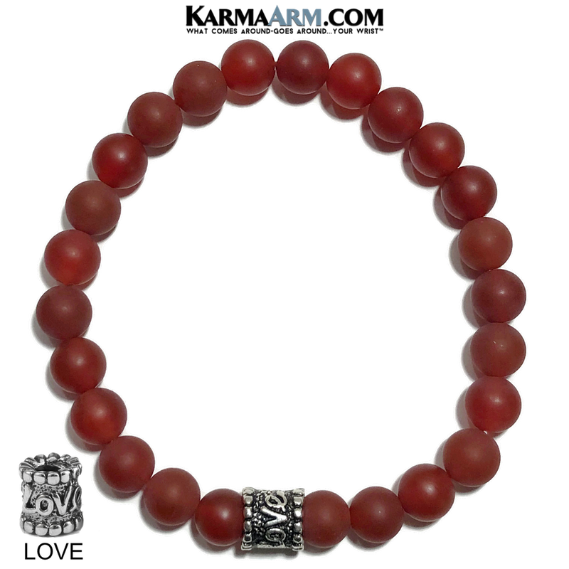 Yoga Bracelets. Red Agate Jewelry. Love Meditation Bracelet.  8mm.