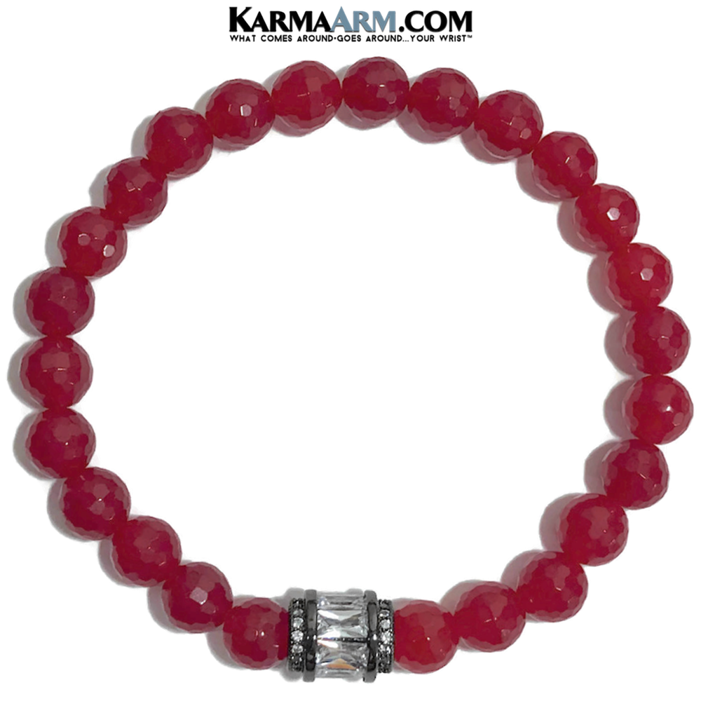 Yoga Bracelets. Red Jade Jewelry. CZ Diamond Meditation Bracelet.