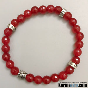 Yoga Bracelets. Red Jade Stretch Charm Mens Jewelry. Chakra Mantra. Reiki Meditation Mindfulness.