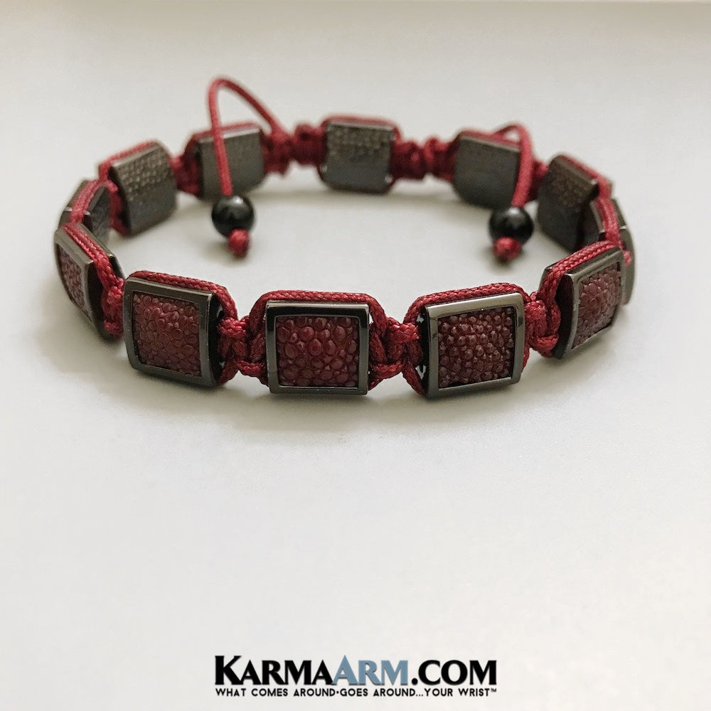 Yoga Bracelets. Red Stingray Leather. Flat Beads FlatBeads Gifts Love Stretch Mala. Mens Beaded Chakra Jewelry.