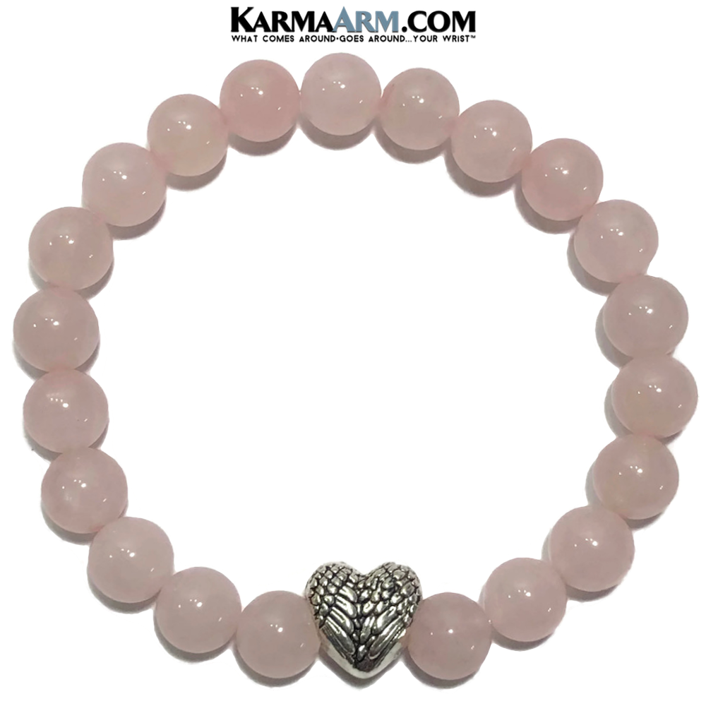 Yoga Bracelets. Rose Quartz Angel Wings. Spiritual Meditation Jewelry.