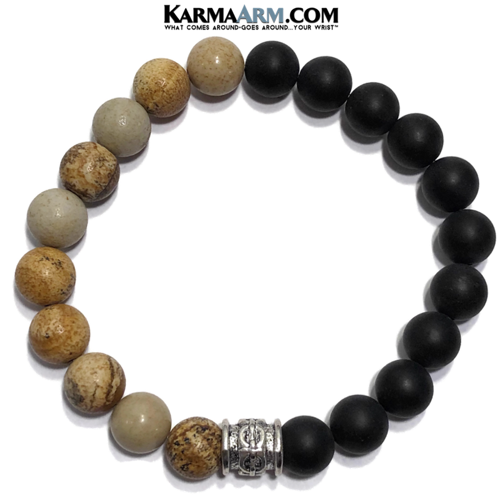 CONFIDENCE: Picture Jasper | Black Onyx | Yoga Chakra Meditation Self-Care Bracelet