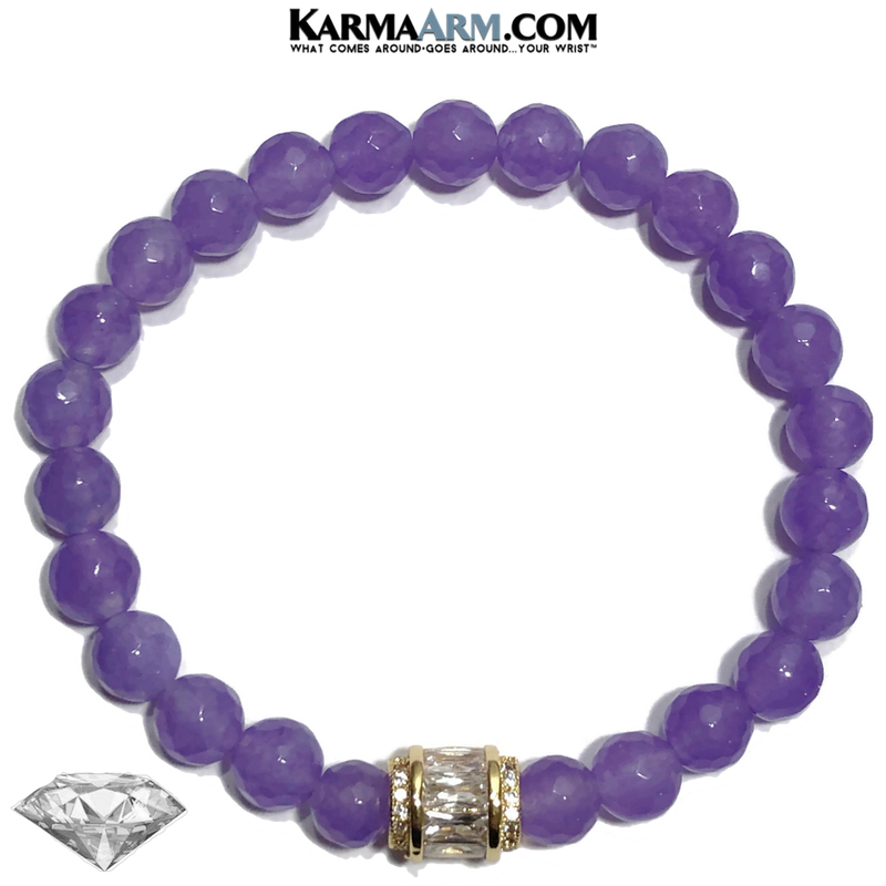 Yoga Bracelets. Self-Care Wellness Meditation Jewelry. CZ Diamond Purple Jade Wristband.