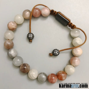 Yoga Bracelets. Sunstone CZ Diamond. Macrame Adjustable Mens Jewelry. Beaded Chakra Bracelet.