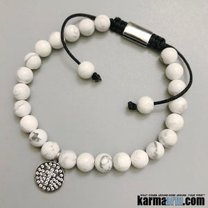 Yoga Bracelets. White Turquoise Pave Cross Charm Bracelet. Gifts Love Chakra Jewelry. Mens Beaded.