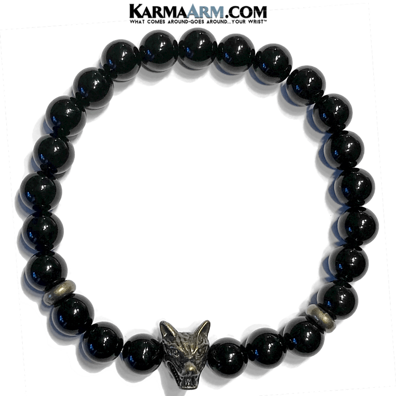 Yoga Bracelets. Wolf Spirit Animal  Jewelry. Meditation Zen Beaded Bracelet. Black Onyx.