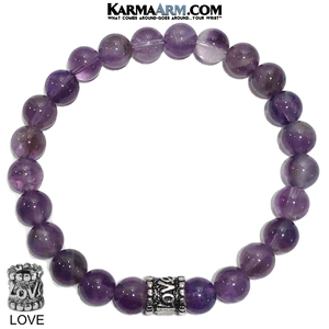 Yoga Bracelets. beaded mens meditation wristband jewelry. Amethyst.