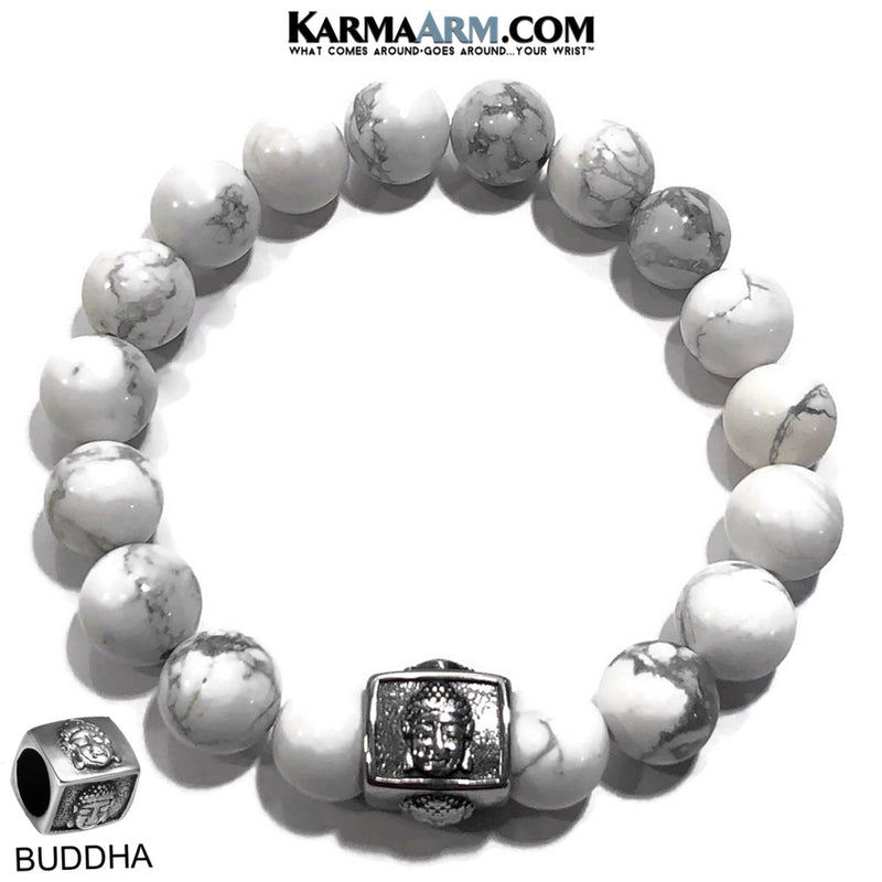 Yoga Bracelets.Buddha Wellness Meditation Jewelry. White Turquoise.