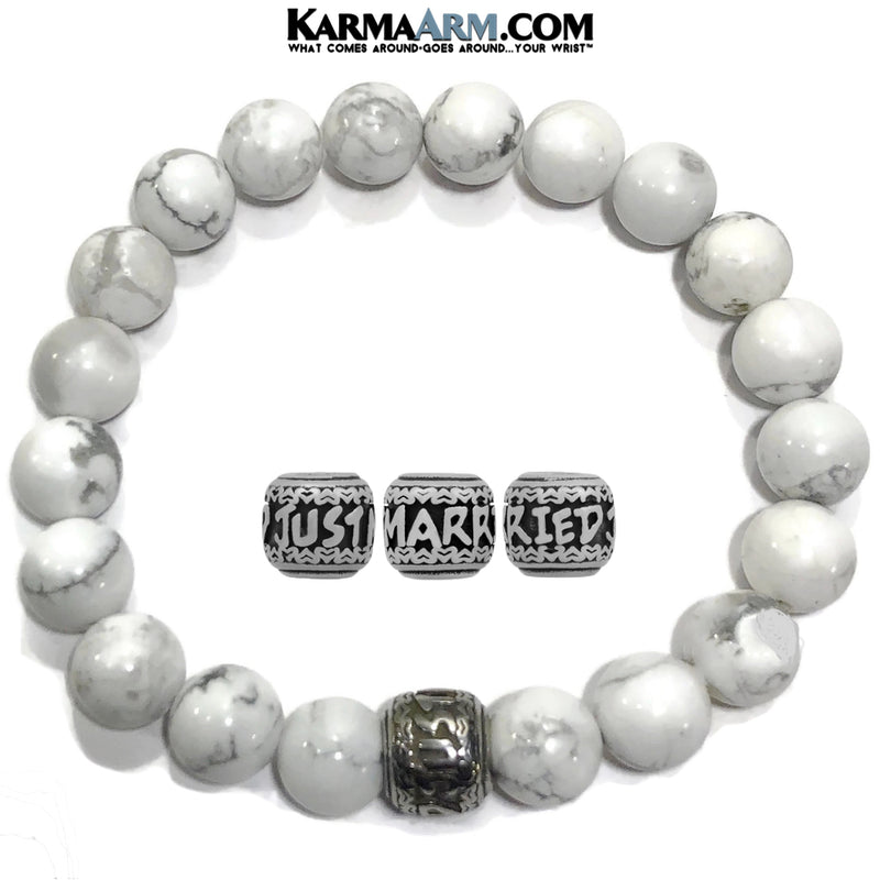Yoga Bracelets. beaded mens meditation wristband jewelry. Just Married White Turquoise.