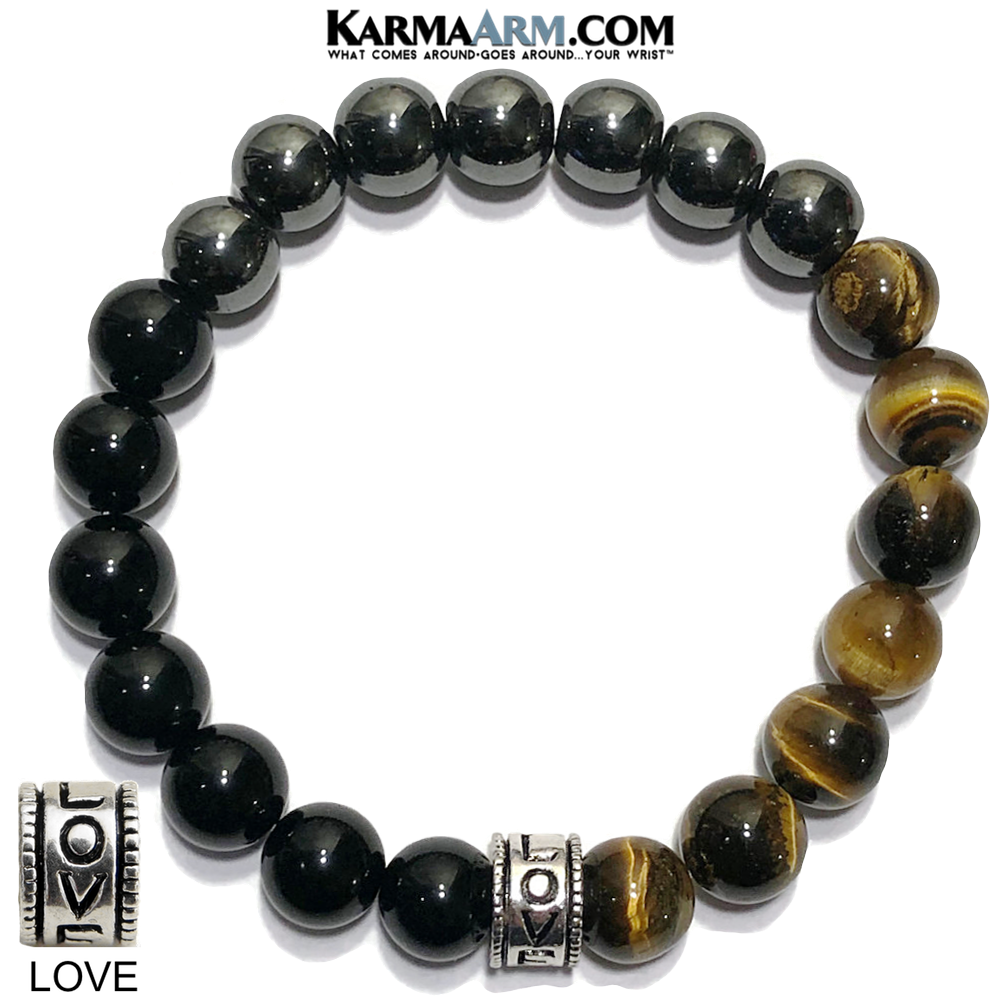 Yoga Bracelets. beaded mens meditation wristband jewelry. LOVE Onyx hematite Tiger eye.