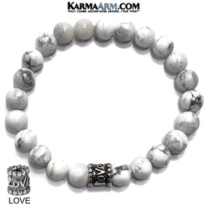 Yoga Love Bracelets. beaded mens meditation wristband jewelry. White Turquoise.