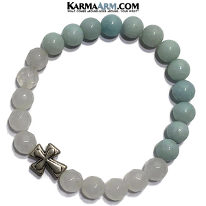 Yoga Bracelets. beaded mens meditation wristband jewelry. White Jade Amazonite Cross.