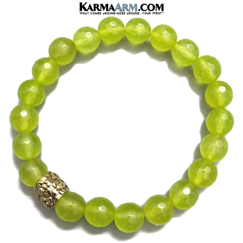 Yoga Bracelets. beaded mens meditation wristband jewelry. peridot floral.