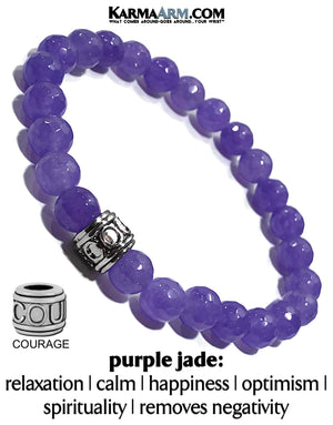 self-Care Wellness beaded mens meditation wristband jewelry. COURAGE Purple Jade. Yoga Bracelets.