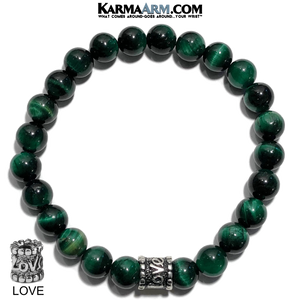 Yoga Bracelets. self-care beaded mens meditation wristband jewelry. Green Tiger Eye 8mm.
