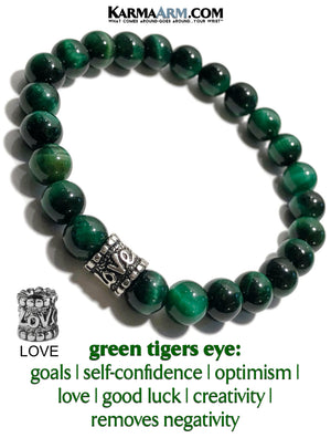 Yoga Bracelets. self-care beaded mens meditation wristband jewelry. Green Tiger Eye 8mm. copy