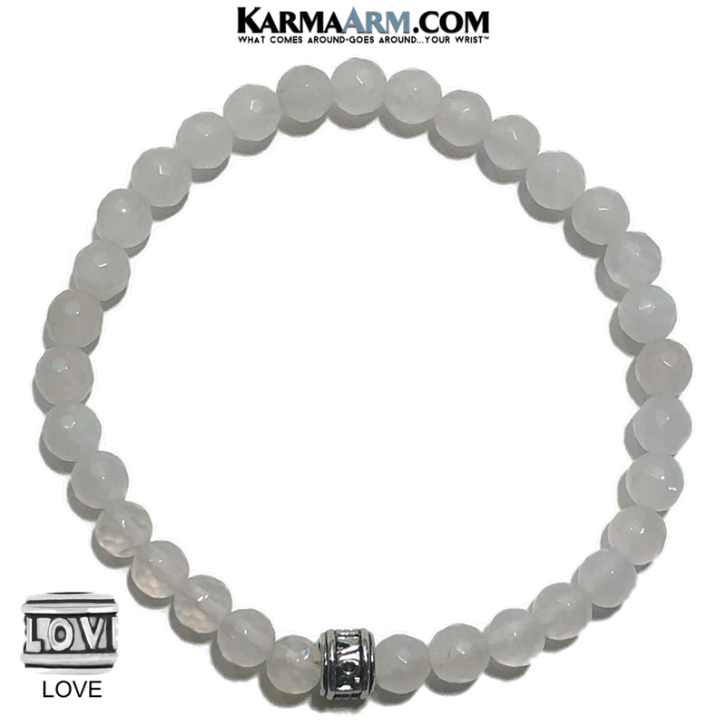 meditation self-care wellness bracelet. mens bead mala wristband jewelry. white jade 6mm.