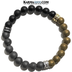 Yoga Bracelets. self-care beaded mens meditation wristband jewelry. hematite onyx Diamond Pave mala.