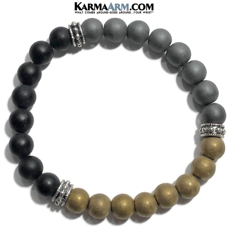 Yoga Zen Bracelets. self-care beaded mens meditation wristband jewelry. hematite onyx mala.