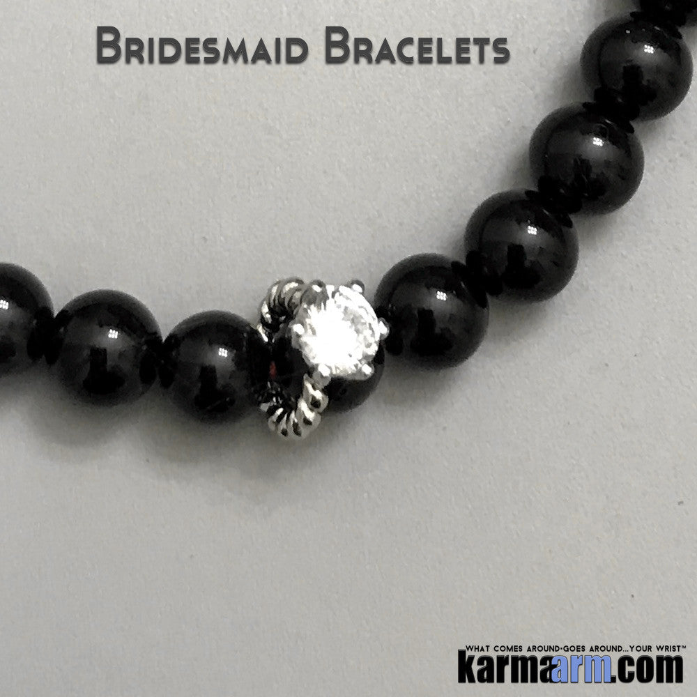 Yoga Bracelets. Bridesmaid Gifts. Ring Charm. Energy Healing | Men's Womens | beaded yoga karma mala charm. Law of Attraction. manifest. #LOA. Black Onyx. CZ Pave.